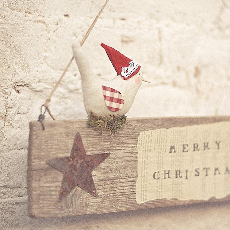 Decorazione natalizia in legno, stoffa e metallo