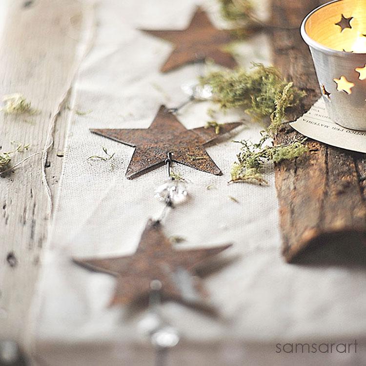 Ghirlanda con stelle e gocce di vetro